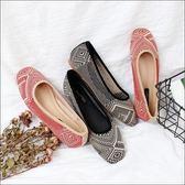 六月芬蘭方頭夏日圖騰針織透氣奶奶鞋黑色紅色(35-40)現貨