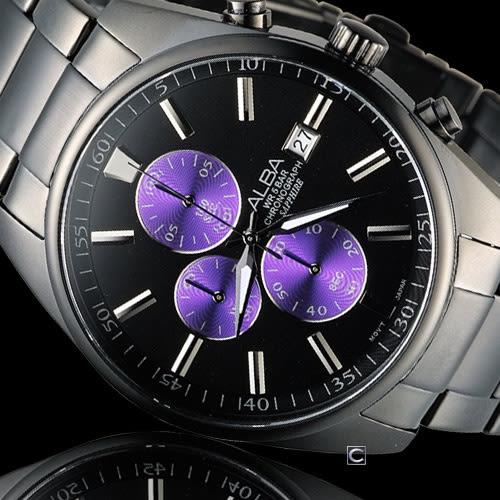 雅柏 ALBA 簡約時尚計時腕錶 VD57-X059SD AM3247X1 黑x紫