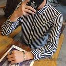 春季新款男士長袖條紋襯衫青少年短袖T恤修身韓版男襯衣寸衫潮 酷男精品館