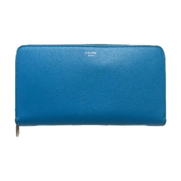 CELINE 賽琳 藍色牛皮長夾Zippe Arround Wallet 【二手名牌 BRAND OFF】