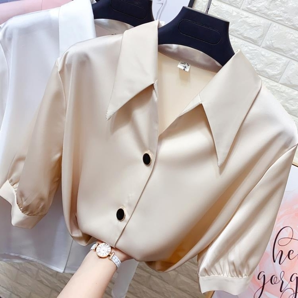 氣質尖領短袖真絲襯衫女裝夏季絲綢緞面寬鬆顯瘦襯衣OL職業雪紡衫 非凡小鋪