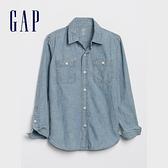 Gap男童 時尚水洗胸袋牛仔襯衫 550524-中度水洗