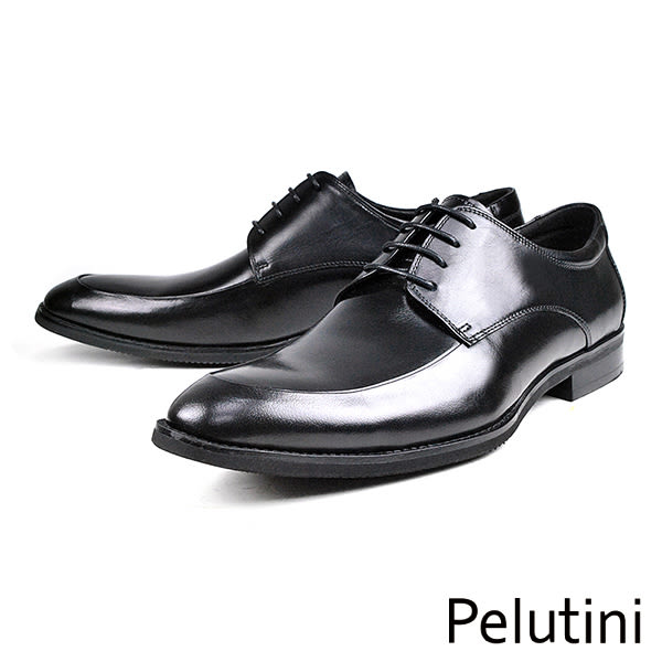 【Pelutini】時尚造型牛皮紳士德比鞋  黑色(8240-BL)