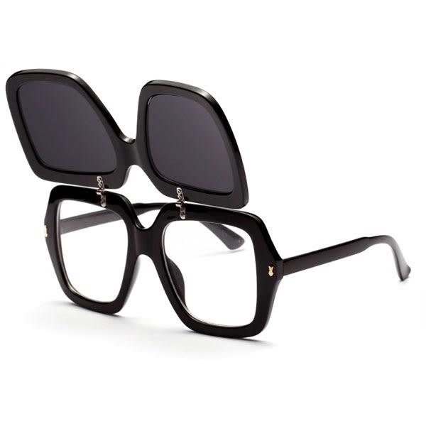 OT SHOP太陽眼鏡‧明星時尚大框方框雙層可掀翻蓋薛之謙中性海洋透明墨鏡‧現貨2色‧U59