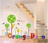 壁貼【橘果設計】柵欄樹木 DIY組合壁貼 牆貼 壁紙室內設計 裝潢 壁貼