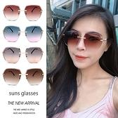 歐美簡約方形切邊無框金屬墨鏡 網紅墨鏡 100抗紫外線UV400 顯小臉太陽眼鏡 時尚明星款