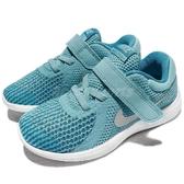 Nike 慢跑鞋 Revolution 4 TDV 藍 白 魔鬼氈 運動鞋 童鞋 小童鞋【PUMP306】 943308-400
