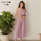東京著衣-tokicho-日甜少女多色細肩胸前荷葉腰鬆緊雪紡連身褲-S.M(181273)