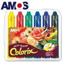 【韓國 AMOS】( 正版) ( 公司貨) 6色 塑膠盒水蠟筆→ 不沾手 無毒 無味 美勞用品