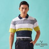 【Emilio Valentino】跳色橫紋吸濕排汗機能POLO衫 - 芥末黃/藍/白