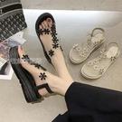 厚底涼鞋水鑽涼鞋女夏仙女風坡跟新款時尚鬆糕厚底羅馬涼鞋ins潮 快速出貨