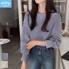 【V3310】shiny藍格子-復古洋氣.純色顯瘦圓領泡泡袖長袖上衣