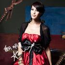 東京衣服-澎澎袖斗篷式網紗罩衫小外套 黑 (共二色)