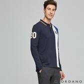 【GIORDANO】男裝刺繡撞色拼接長袖POLO衫 - 03 海軍藍/標誌白