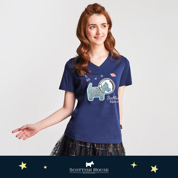 亮蔥狗V領絲光棉T恤 Scottish House【AJ1280】