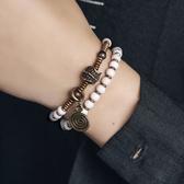雙層混搭黃銅珠子手串手鍊情侶手飾/設計家