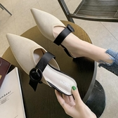 包頭半拖鞋女 新款 尖頭粗跟防滑針織面皮帶扣外出懶人時尚 超值價