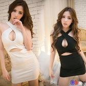 Bbay 夏季夜店女裝時尚性感露肩低胸鏤空緊身包臀掛脖連身裙