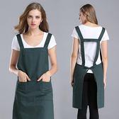 圍裙韓版時尚工作服純棉廚房圍裙圍腰美甲廣告圍裙【卡米優品】