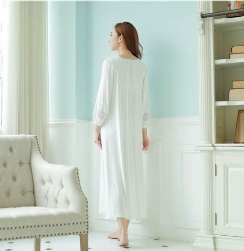 歐式復古宮廷風睡衣莫代爾超長睡裙長袖女公主粉色蕾絲家居服春秋-11190024