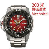 【萬年鐘錶】ORIENT 東方 M-FORCE FOR AIR DIVING系列 200m潛水機械錶 鋼帶款 紅+黑色 SEL06001H