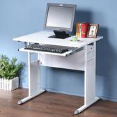 Homelike 巧思辦公桌-仿馬鞍皮80cm(附鍵盤)桌面:白/桌腳:灰/飾板:白