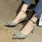 包頭涼鞋女細跟夏季2020新款百搭仙女風尖頭單鞋一字帶高跟鞋女鞋 LF6439【極致男人】