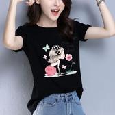 黑色短袖T恤女寬鬆 夏季2020年新款歐洲站小衫純棉歐貨洋氣上衣服『潮流世家』