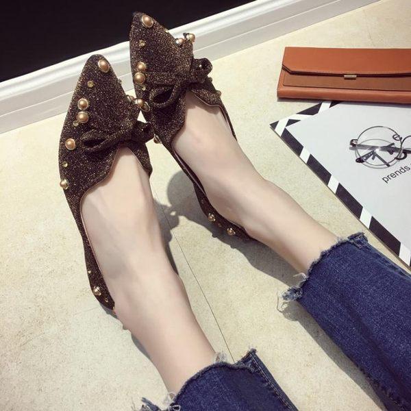 單鞋女鞋子女chic低跟豆豆鞋百搭韓版尖頭淺口平底鞋  黛尼時尚精品