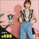 URES ★限時搶購499★韓國波點撞色蕾絲透紗襯衫+背心【151001918】