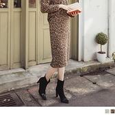 時髦豹紋毛茸茸腰鬆緊A字中長裙 OrangeBear《CA2226》