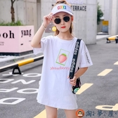 女童短袖T恤裙韓版寬松休閒時尚中長款上衣可愛【淘夢屋】