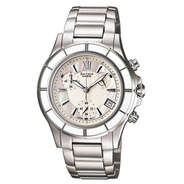 CASIO SHEEN系列 極光盛宴都會陶瓷晶鑽腕錶(白)