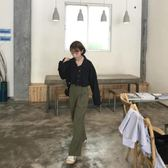 早秋新款女裝韓版寬鬆原宿風外套復古學生短款長袖牛仔衣