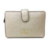 【COACH】專櫃款金屬 LOGO全皮革金色立體中夾短夾證件夾(金)