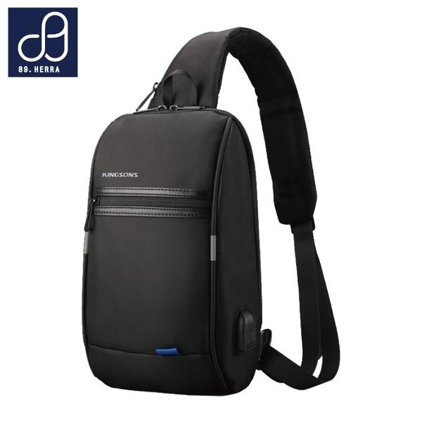 單肩包 胸包 防水面料潮流USB款 隨身平版斜背包 男包 89.HERRA-HB89355