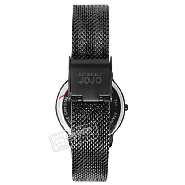NATURALLY JOJO / JO96945-88F / 簡約時尚 藍寶石水晶玻璃 米蘭編織不鏽鋼手錶 黑色 32mm
