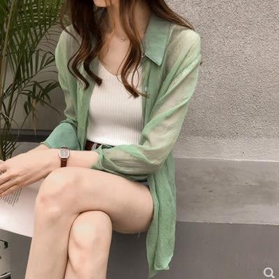 夏裝新款韓版百搭大碼純色襯衫女長袖上衣寬鬆薄款防曬襯衣潮722#N-1FE35-A日韓屋