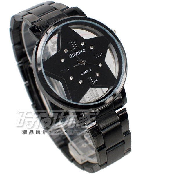 daybird 簍空星星時尚腕錶 中性錶黑色 DA3592星IP黑 來自星星/祈願星星 鏤空錶 鋼錶帶款 防水手錶