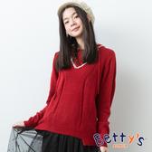 betty's貝蒂思 典雅連帽微簍空針織線衫(紅色)