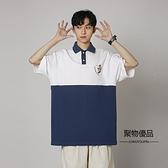 情侶夏季日系拼接寬鬆Polo衫短袖T恤男五分袖上衣【聚物優品】