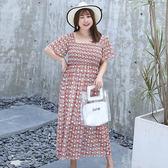 中大尺碼~高腰優雅短袖洋裝連衣裙(XL~4XL)