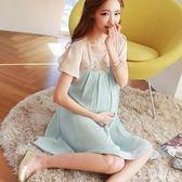 孕婦洋裝中大尺碼新款中長款韓版潮媽夏裝雪紡短袖時尚款上衣孕婦裝 QG5263『優童屋』