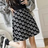 短裙 大擺針織短裙 A字裙 韓國高腰A字裙遮胯半身裙女包臀裙H331紅粉佳人