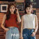 上衣 前短後長不規則純棉無袖上衣 - PINK CHIC - 136031