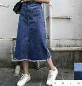 (全館一件免運)DE SHOP~(A-8509)韓國抽鬚雙口袋正面開叉牛仔長裙東大門淺色半身裙高腰中長款寬鬆A字