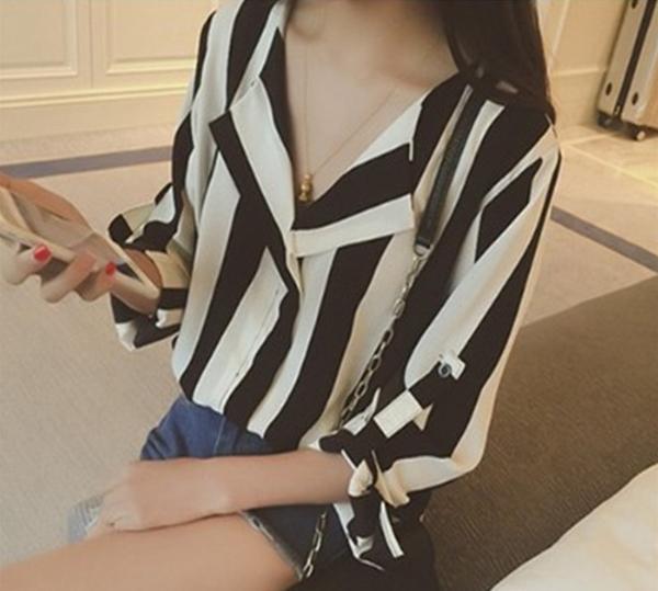 春夏 V領 條紋 五分袖 襯衫 寬鬆 OL 棉質 印花 寬鬆 中袖