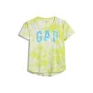Gap女童棉質舒適圓領短袖T恤552663-黃色紮染