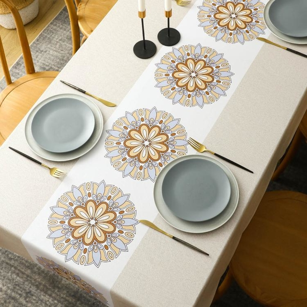 桌布防水防油免洗防燙家用長方形餐桌臺布中式歐式茶幾布pvc桌墊 「夢幻小鎮」