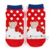 〔小禮堂〕Hello Kitty 成人保暖襪《紅.點點.大臉》23-25cm.短襪.絨毛襪 4901610-76107